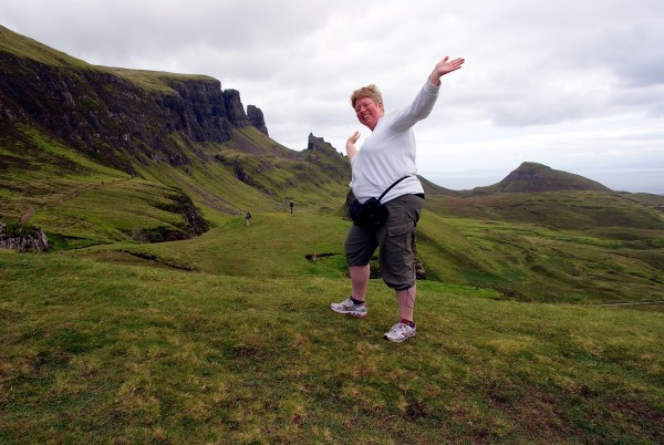 Lizzan at the Quiraing on the Isle of Skye, Scotland, summer of 2013.